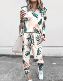 Fashion Light Green Leaves Printed Long-sleeved Top And Pants Suit