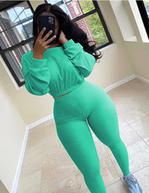 Fashion Green Ribbed Sports Suit