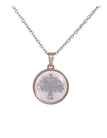 Fashion Silver Shell Geometric Tree Necklace