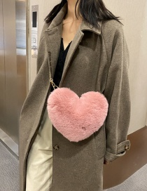 Fashion Pink Plush Peach Heart Chain Shoulder Messenger Bag