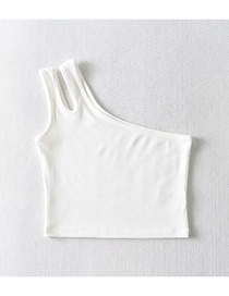 Fashion White Slanted Shoulder T-shirt Vest