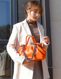 Fashion Orange Thick Chain Pleated Shoulder Messenger Bag
