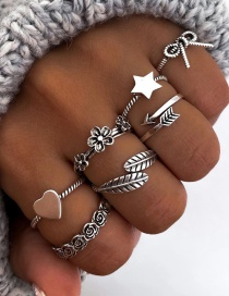 Fashion Silver Color Alloy Ring 6 Set