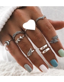 Fashion Silver Color Alloy Ring 9 Set