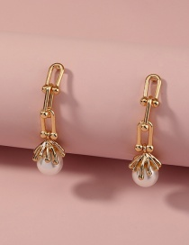 Fashion Gold Color U-shaped Chain Pearl Tassel Pendant Earrings