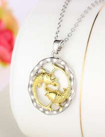 Fashion Silver Color Alloy Pisces Water Pendant Necklace