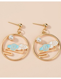 Fashion Xiangyun Palace Painted Jade Rabbit Auspicious Clouds Carp Oil Drop Asymmetric Round Earrings