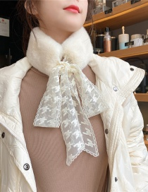 Fashion White Houndstooth Thick Warm Plush Knotted Fake Collar Scarf