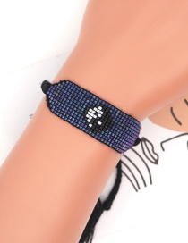 Fashion Royal Blue Tai Chi Bagua Figure Geometry Handmade Beaded Rice Bead Bracelet
