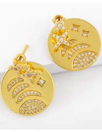 Fashion Gold Color Cosmic Planet Diamond-studded Copper And Gold-plated Earrings