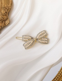 Fashion Gold Color Pearl Rhinestone Butterfly Combined With Blonde Clip