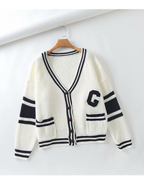 Fashion White Button-knit Cardigan V-neck Contrast Loose Sweater