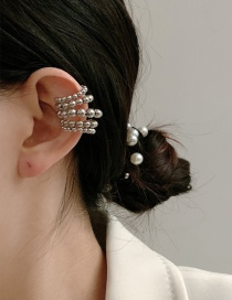 Fashion Silver Color Single Metal Round Bead Alloy Multilayer Pierced Earrings