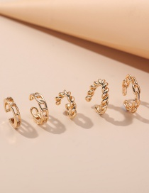 Fashion Five-piece Gold Color Twisted Button Pattern Without Pierced Ear Clips
