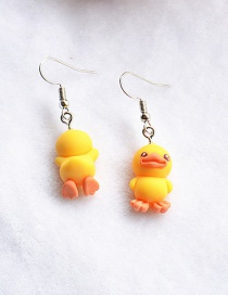 Fashion Duckling Simulation Three-dimensional Front And Back Duck Frog Rabbit Bear Epoxy Earrings
