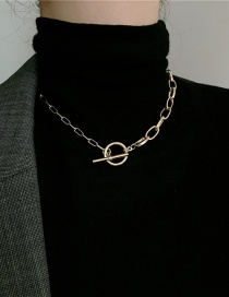 Fashion Gold Color Metal Thickness Stitching Chain Ot Buckle Necklace