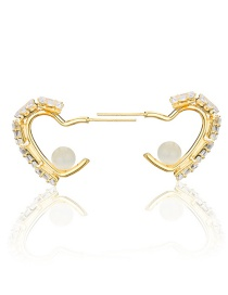 Fashion Gold-plated White Zirconium Diamond And Copper-plated Pearl Love Earrings