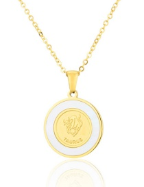 Fashion Gold Color Titanium Steel Shell Taurus Round Necklace