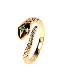 Fashion Green Full Diamond Serpentine Gold-plated Copper Ring