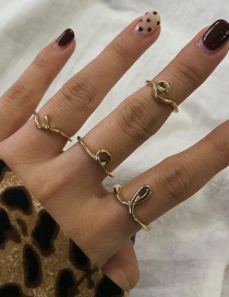 Fashion Gold Color 4-piece Alloy Cross Geometric Ring