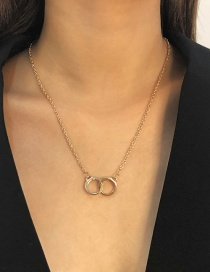 Fashion Gold Color Alloy Double Ring Hollow Necklace