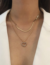 Fashion Gold Color Alloy Diamond Double Heart Necklace