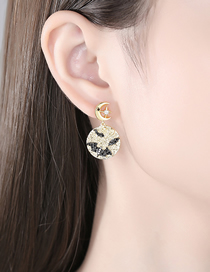 Fashion 18k Copper Inlaid Zircon Star And Moon Round Earrings