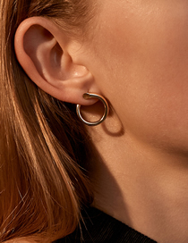 Fashion Kc Gold Faceted C-shaped Geometric Round Earrings