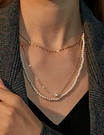 Fashion Kc Gold Pearl Beaded Thin Chain Multilayer Necklace