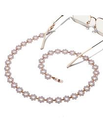 Fashion Gold Color Handmade Pearl Flower Glasses Chain
