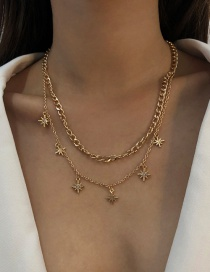 Fashion Gold Color Alloy Double-layer Geometric Star Necklace