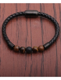 Fashion Tiger Eye + A Volcanic Stone Stainless Steel Magnetic Buckle Leather Volcanic Stone White Turquoise Tiger Eye Beaded Bracelet