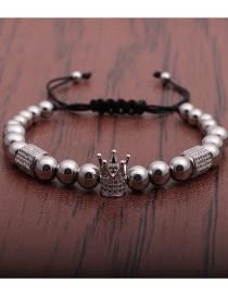 Fashion White Gold Copper Beads Micro-inlaid Zircon Crown Hexagonal Pillar Braided Adjustable Bracelet