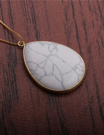 Fashion White Pine Water Drops Turquoise Copper Gold Plated Drop Pendant Necklace
