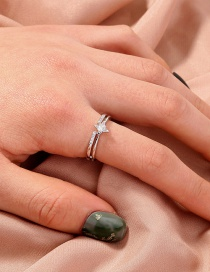 Fashion Silver Color Micro-set Zircon Skylight Star Open Ring