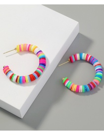 Fashion Color Mixing C-shaped Handmade Soft Clay Alloy Contrast Earrings