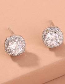 Fashion Round Micro Diamond Square Flower Alloy Earrings