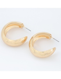 Fashion Gold Color Alloy Texture C-shaped Metal Earrings
