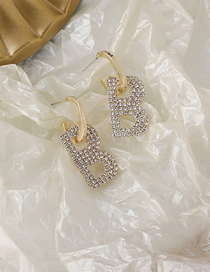Fashion Gold Color Alloy Cutout Earrings With Diamond Letters