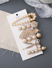 Fashion Gold Color Feather Pearl Diamond Geometric Alloy Hairpin Set