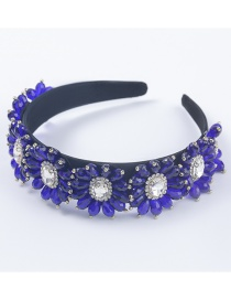 Fashion Blue Fabric Diamond-studded Acrylic Flower Broad-brimmed Headband