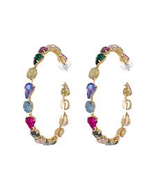 Fashion Purple Alloy Diamond C-shaped Circle Earrings