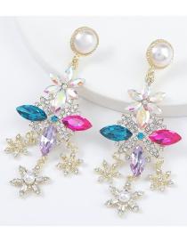 Fashion Color Alloy Diamond Imitation Pearl Snowflake Tassel Earrings