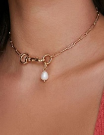 Fashion Gold Color Box Chain Keychain Pearl Pendant Necklace
