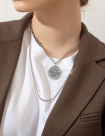 Fashion Silver Color Alloy Beer Bottle Cap Pendant Multi-layer Necklace