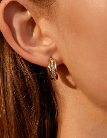 Fashion Gold Color Cross Braided Twist And Micro Inlaid Zircon Earrings