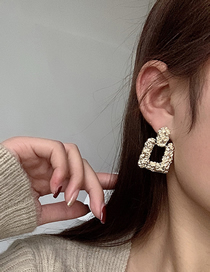 Fashion Gold Color Irregular Hollow Square Earrings