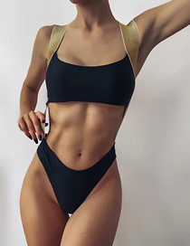 Fashion Black Contrast Color Cutout Swimsuit With Solid Color Webbing