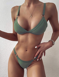 Fashion Green Solid Color Triangle Metal Ring Split Swimsuit
