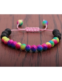 Fashion Volcanic Stone + Colorful Faceted Stone Volcanic Faceted Stone Beaded Childrens Bracelet